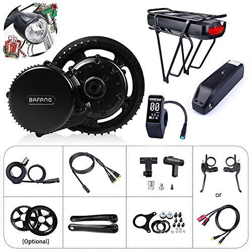 Bafang Bicicleta eléctrica BBS01B 48V 500W Kit de conversión de Bicicleta de montaña con Motor Central Bicicleta de EBike con batería de 48V 11.6/17.5Ah Hailong/Portaequipajes Batería