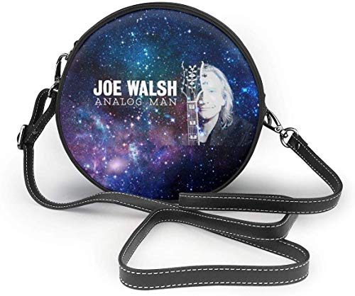 gxianyuyib Joe Walsh Analog Man Damen Umhängetaschen Damen Leder Reißverschluss Umhängetasche Casual Round Bags