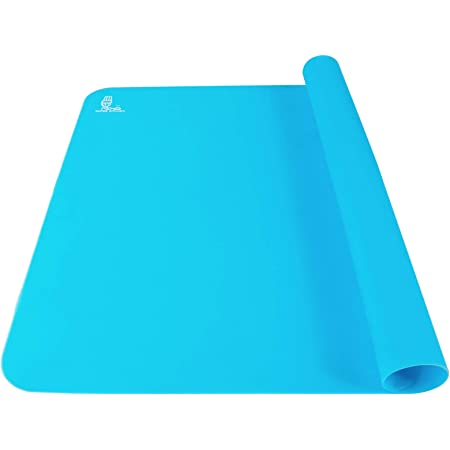 Super Kitchen Food Grade Non-stick Silicone Pastry Mat - For Heat Resistant Nonskid Table Mat,Silicon Baking Mat, Dough Rolling mat,Countertop Protector, Pie and Fondant Mat 23.6''15.75'' (Blue)