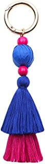 Juesi Colorful Boho Pom Tassel Charm Keychain, Handbags Pendant Gift for Girls