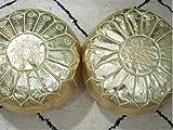 Juego de 2 puffes artesanales marroquíes de cuero otomano de alta calidad hechos a mano – Reposapiés bordado hecho a mano Hassock dorado sin relleno cojín cojín de suelo