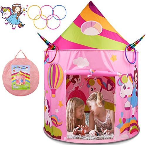 BATURU Princess Castle Tent with Unicorn Ring Toss Game Kids Play Tent Toys for 2 3 4 Year Old product image
