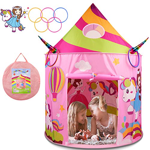 BATURU Princess Castle Tent with Unicorn Ring Toss Game, Kids Play Tent Toys for 2 3 4 Year Old Girls, Kids Pop Up Tent Palyhouse for Indoor and Outdoor with Carrying Bag