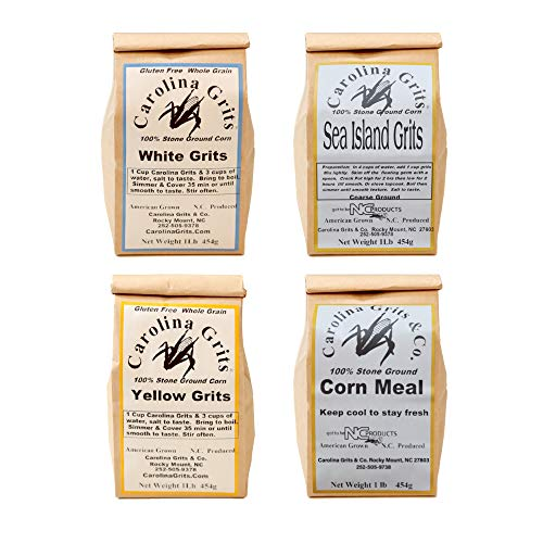 Carolina Grits Company Traditionally Stone Ground Gluten Free Sample Pack, Yellow Grits, White Grits, Sea Island Grits, and Cornmeal, 4-Pack, 4 Pounds Total