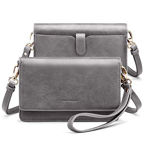 nuoku Women Small Crossbody Bag Cellphone Purse Wallet with RFID Card Slots 2 Strap Wristlet(Max 6.5'') … (Grey)