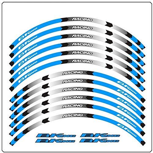 Yeyoucoc Calcomanías de Rayas de rimas de Motocicleta 17 Pulgadas de Rueda de Rueda Cinta Reflectante para Suzuki b King 400 600 1300 (Color : Blue1)