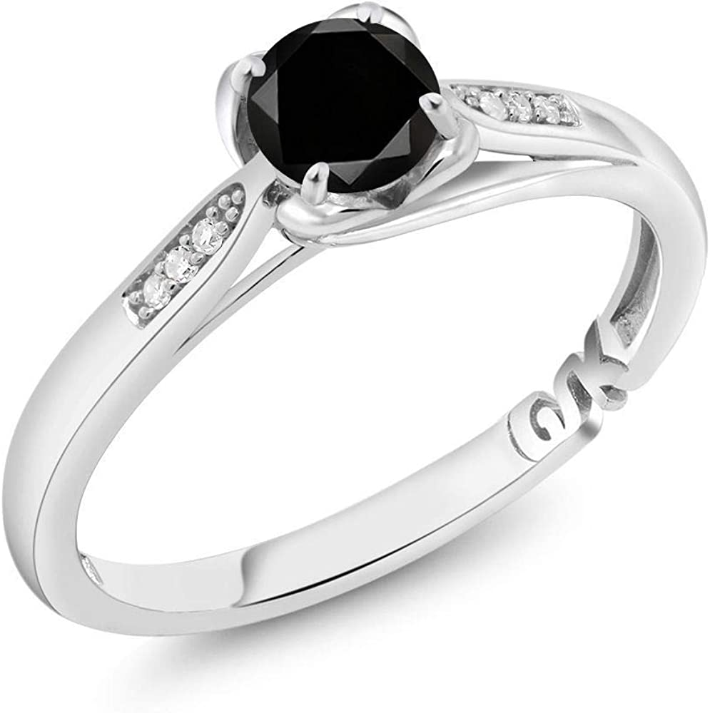 Gem Stone King 10K White Gold Black and White Diamond Women Engagement Ring (0.59 Ct Round, Available in size 5, 6, 7, 8, 9)