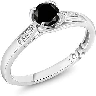 10K White Gold 0.59 Ct Round Black Diamond and Diamond Engagement Ring