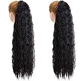 2 piezas 28 pulgadas de largo negro rizado cola de caballo extensión de cabello envolver alrededor del clip de cola de caballo en extensiones de cabello de cola de caballo postizo para mujeres