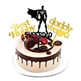 Super Dad Happy Birthday Cake Toppers for Men Him Husband Hubby Father Daddy Gold Silivery Sweet...