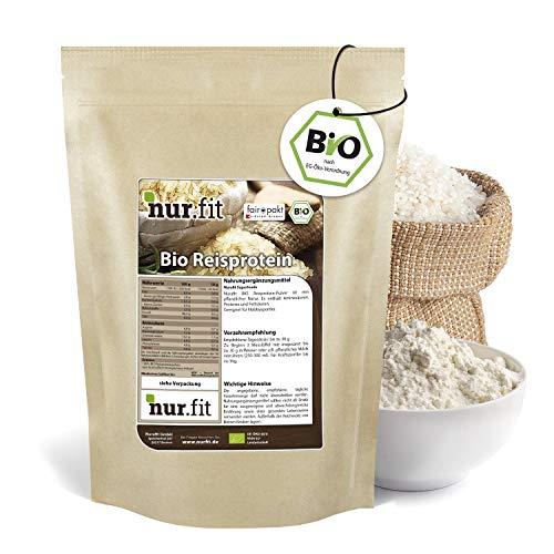 Nurafit BIO Reisprotein Pulver, 86{76b6f0d85a4c2a619bb86a85dcf43b225f27f9fcef2a136fff5ad5ffc1121089} Proteingehalt, Vegan Superfood ohne Zusätze, rein natürlich, zertifizierte Spitzenqualität nach DE-001-ÖKÖ, für Sport und Fitness-Shakes, 2000g / 2kg