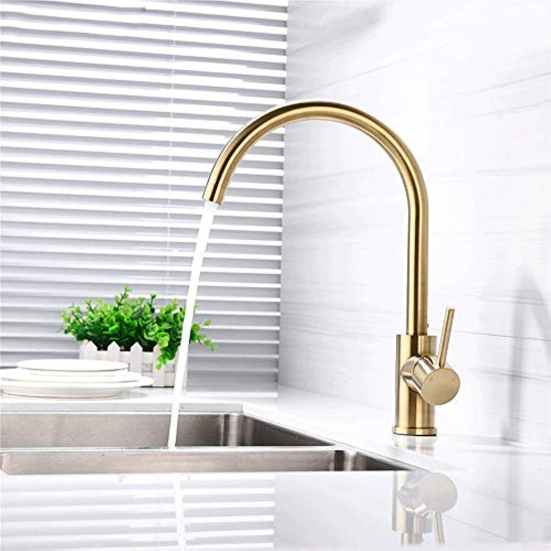 AXWT Gold Küchenarmatur Kaltwrme Einhand Einlochmontage Drehbar Universal Spülbecken Wasserhahn Waschbecken Messinghahn
