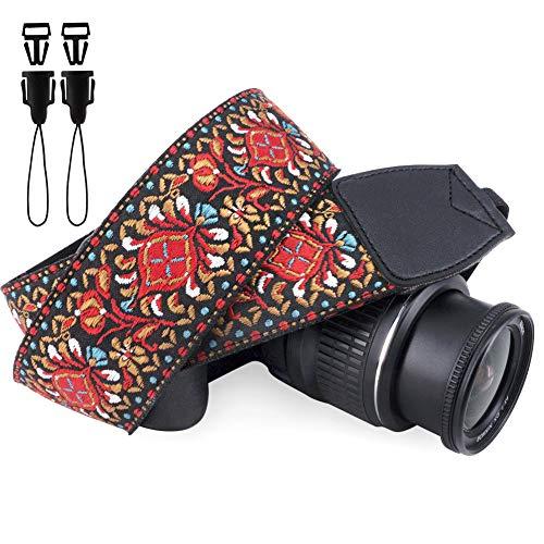 Wolven Kamera-Schultergurt, Vintage-Stil, Jacquard, kompatibel mit allen DSLR/SLR/Digitalkameras (DC)/Sofortbildkamera/Polaroid usw., Rot mit klassischem Blumenmuster