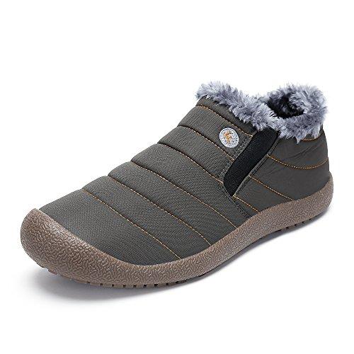 SAGUARO® Herren Damen Winterschuhe Warm Gefütterte Boots Stiefelette Outdoor Schneestiefel Winter Schuhe,Low top grau,47 EU