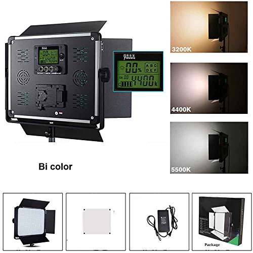 Yidoblo Dimmable Bi-color LED Video Light D-2000II Barndoors and Carrying Case for Studio Youtube Video Photography Lighting, Durable Metal Frame, 1724 LED Beads3200K-5500K, CRI 96+, DMX512 Compatible