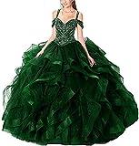 Snow Lotus Robe Quinceanera à bretelles spaghetti et perles pour femme avec volants et épaules dénudées - Vert - 42