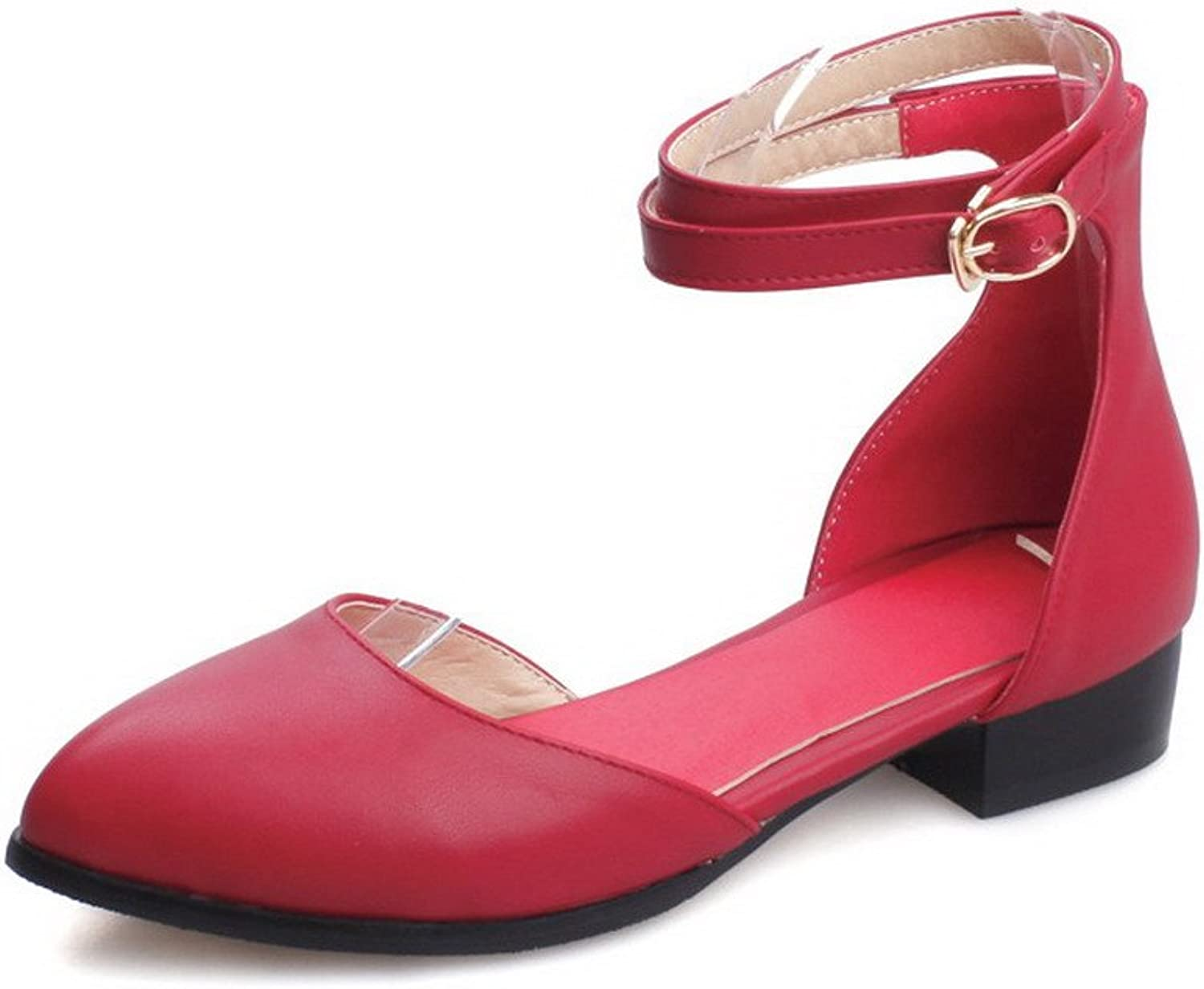 AmoonyFashion Women's Low Heels Solid Buckle Pointed Closed Toe Pumps shoes