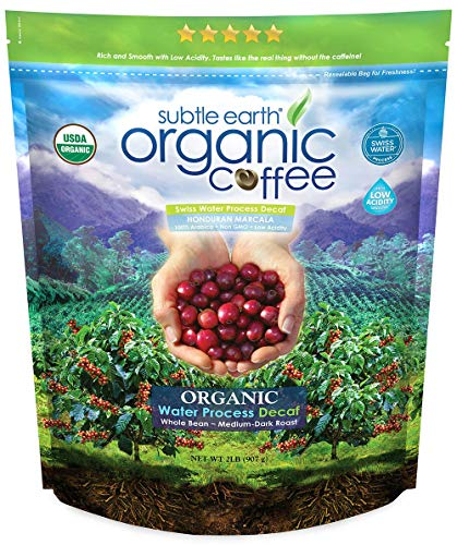 2LB Subtle Earth Organic Decaf - Swiss Water Process Decaf - Medium Dark Roast - Whole Bean Coffee - Low Acidity… 1 Swiss Water Process Decaffienated - 99.9% Caffiene Free USDA Organic Certified - Whole Bean - Medium Dark Roast Rich and chocolatey with profound depth of flavor, velvety body, and low acidity