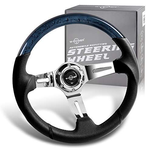 W-Power, 13.5' Universal 343mm 6 Bolt Hole 4-Inche Deep Dish Crystal Bubble Aluminum Polished Black Leather Grip Steering Wheel, Black Horn Button JDM Euro VIP Style, Silver 3-Spoke
