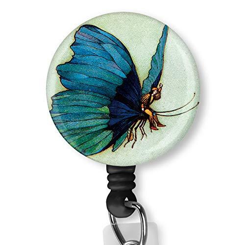 Blue Butterfly Digital Art with Alligator Clip Nurse Badge ID Card Name Tag Custom Badge Holder Nurse Decorative Badge Reel Clip on Card Holders Badge Clip