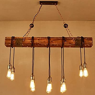 DMMSS Wooden Retro Restaurant Chandelier Industrial Style Old Creative Personality Cafe Lighting Bar Clothing Store Model Room Lamps