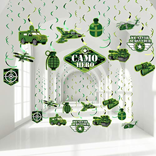 30 Pieces Camouflage Party Hanging Swirl Decorations, Green Army Military Camo Hero Birthday Theme Party Foil Ceiling Spiral Streamers for Boys Girls Adults Soldier Camo Birthday Party Baby Shower