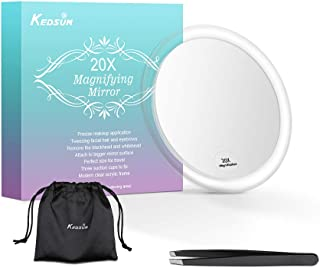 KEDSUM 20X Magnifying Mirror with 3 Suction Cups, 4 Inch Compact Mirror, Use for Precise Makeup Application, Tweezing and Blackhead/Blemish Removal, Easy Mounting