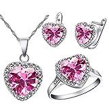 Uloveido Charm Pink Love Heart Colgante Collar Anillo Set para Mujeres Nupcial Cumpleaños Pendientes de Boda Conjunto de Joyas para niñas Mujeres Novia Mamá T481