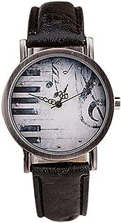 Creative Unisex Retro Notes Piano Pattern Dial Faux Leather Quartz Wrist Watch