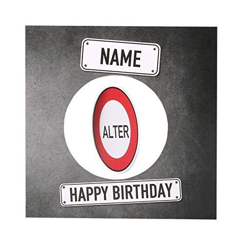 Herz & Heim® personalisierte Geburtstagskarte - handgefertigte Grußkarte mit Dreh-Effekt bedruckt im Verkehrszeichenlook mit Ihren Wunschdaten