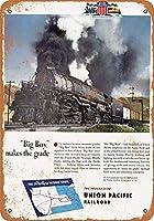 2個 20 * 30CMメタルサイン-1944ユニオンパシフィックビッグボーイ蒸気機関車 メタルプレート レトロ アメリカン ブリキ 看板