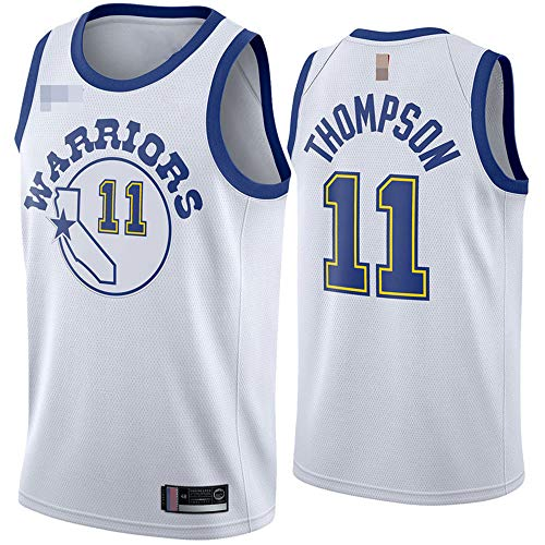 Jerseys De Baloncesto De Los Hombres, NBA Golden State Warriors # 11 Klay Thompson, Comfort Classic Comfort Chalecos Transpirables Camiseta Uniformes Deportivos Tops,Blanco,XL(180~185CM)