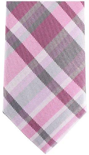 Knightsbridge Neckwear Pink/Grey Checked Silk Skinny cravate de