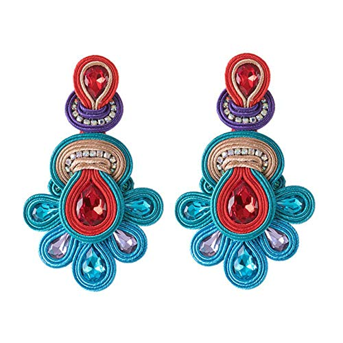 National Retro Earrings Female Big Earrings Soutache Handmade Crystal Pendant Earrings Party Gift green
