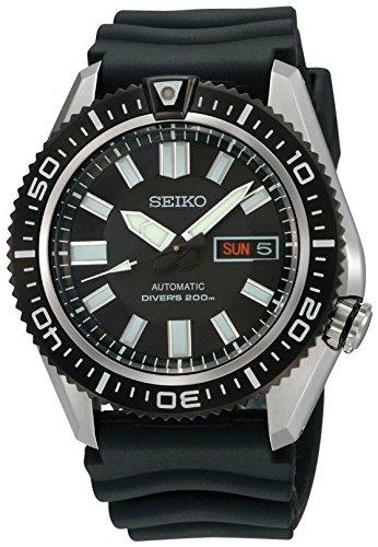 Seiko Men's SKZ327 Diver's Black Rubber Automatic Black Dial Watch