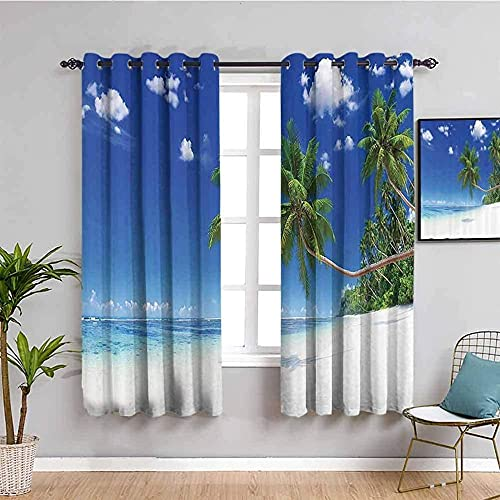 JYDFC Blackout Curtains for Bedroom - 3D Digital Printing - Heat Sound Insulation - Privacy Protection Children's Room Boy Girl Bedroom Room Decoration - 110X63 Inch - Blue Sky Plants Beach