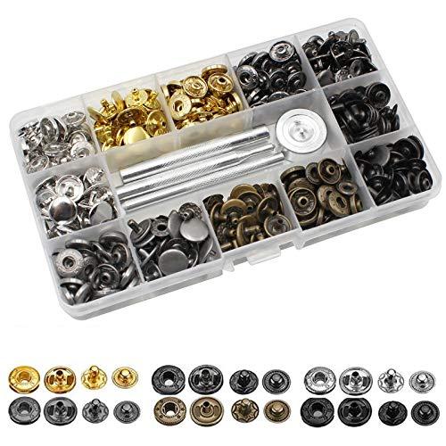 120 Set Kit de Sujetadores a Presión de Cuero Botón de Presión...