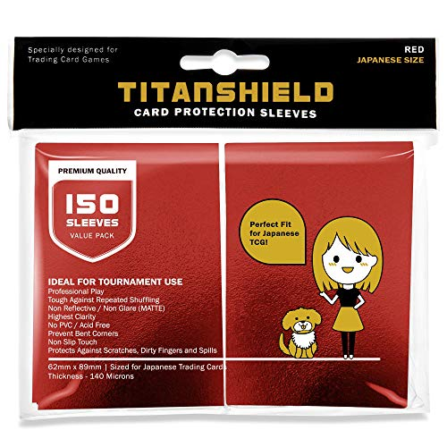 TitanShield (150 Sleeve/Red Small Japanese Sized Trading Card Sleeves Deck Protector for Yu-Gi-Oh, Cardfight!! Vanguard & More