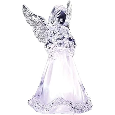 BANBERRY DESIGNS LED Lighted Angel Figurine 7 Inch Clear Acrylic Color Changing Angel Holding a Heart Statue Decoration