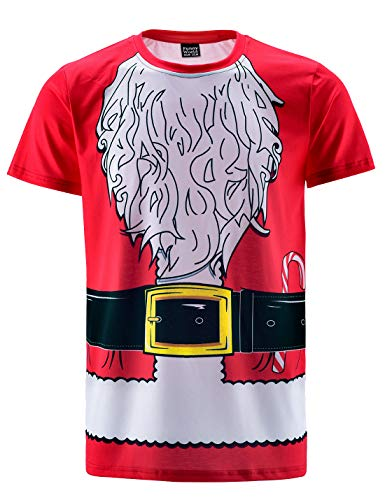 Funny World Men's Christmas Santa Claus Costume T-Shirts, Medium, Red