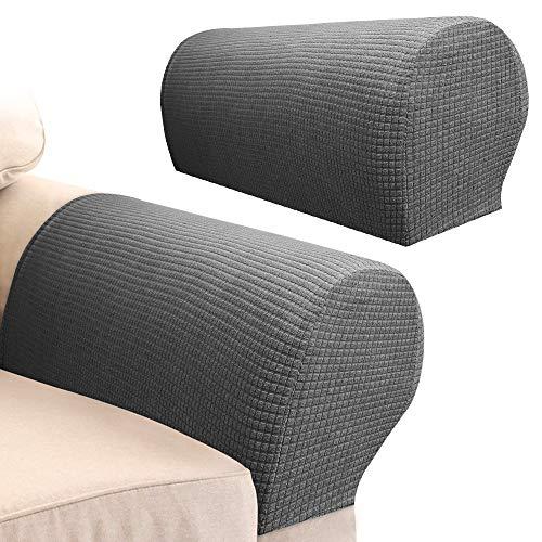 Your's Bath 2 Stück Armlehnenbezüge, Spandex-Stretchstoff, wasserdicht, rutschfest, Möbelschutz, Schonbezüge für Sessel, Sofa, Couch, Liegestuhl, dunkelgrau
