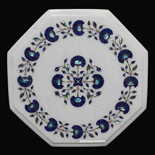 Geschenken En Artefacten Wit Octagon Marmeren Einde Tafel Bijzettafel Inlaid Marquetry Art Lapis Lazuli Bloemen Patroon Kan worden gebruikt in hal Meubels 15 Inches