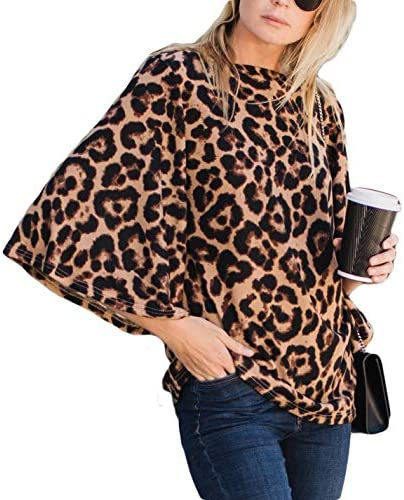 Amaryllis Apparel Women s Printed Leopard Brown Boatneck Flutter Bell Sleeve Blouse Top product image