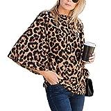 Amaryllis Apparel Women's Printed Leopard Brown Boatneck Flutter Bell Sleeve Blouse Top