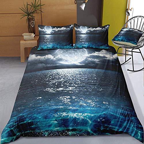 zzkds Bettwäsche-Sets Bettbezug-Set 3-teilig, Mikrofaser 3D Sea Ocean Schlafzimmer Bettbezug-Set 2 X Kissenbezüge 1 X Bettbezug für Doppelkönig Einzelbett Moonlight 180x210cm