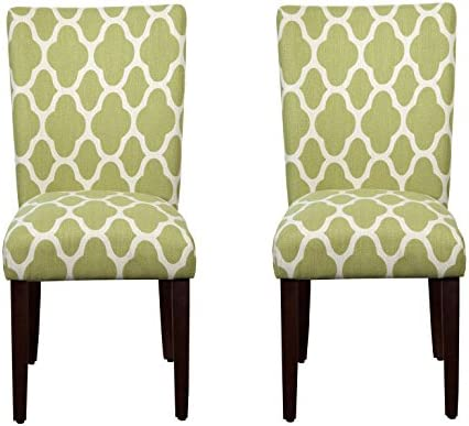Best HomePop Parsons Classic Upholstered Accent Dining Chair, Set of 2, Green and Cream Geometric