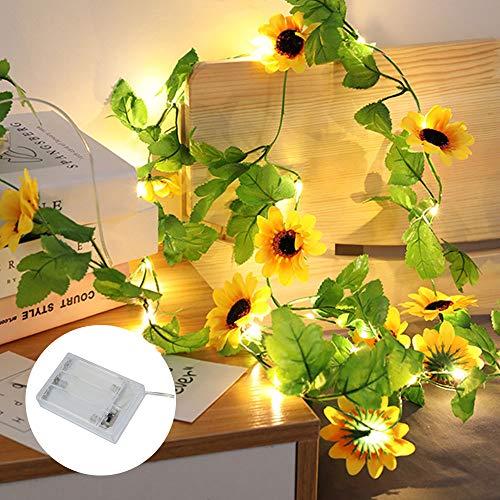 2 M 20 LED Sunflower String Lights Artificial Leaf Vine Fairy Lights Battery Powered Fake Sunflower Garland Light for Wedding, Valentines Day, Birthday (1 Pcs)