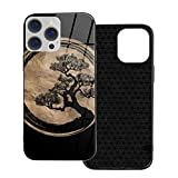 Phone Cover Enso Zen Circle and Bonsai Tree Gold Phone Case for iPhone 12/12 mini/12 Pro/12 Pro Max Tempered Glass Back Cover+TPU Case,for iPhone 12 Pro Max-6.7 Inch