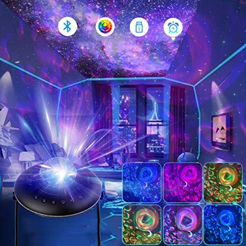 Proyector De Luz De Estrella LED para Niños Adultos, Proyector De Noche Estrellada De Luna De Nebulosa De Olas Oceánicas con Lámpara De Ambiente De Galaxia LED Bluetooth