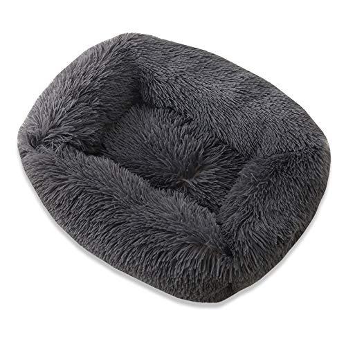 mdtep Rechteckiges Tierbett ist EIN weiches Plüschbett für kleine und mittlere Katzen und Hunde, warme Schlafkissen für Hunde Waschbares Hundebett (Color : Dark Gray, Size : X-Small)